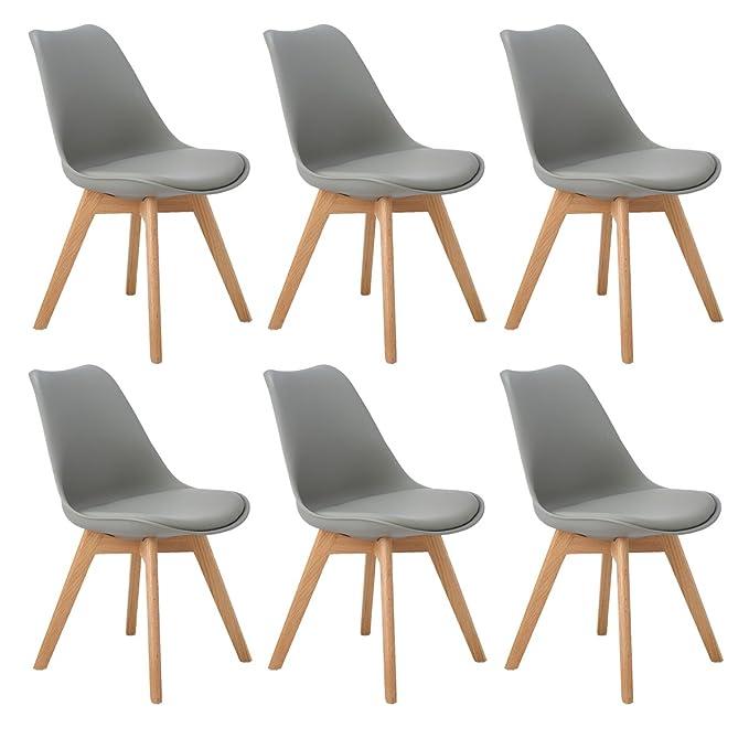 DORAFAIR Pack de 6 sillas escandinava Estilo nórdico Silla de Comedor,Tulip Comedor/Silla de Oficina con Las piernas de Madera de Roble Maciza,Gris: ...