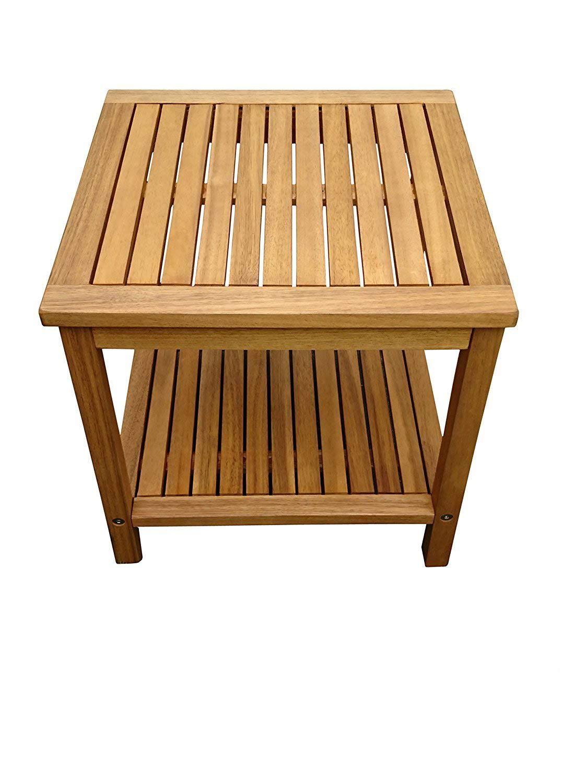 SAM® Tavolino in legno di acacia, certificato FSC® 100%, colore marrone, 45 x 45 cm, tavolo d'appoggio in legno massello, ideale per balcone, terrazzo e giardino