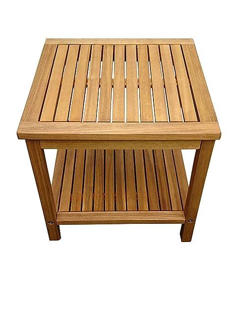 SAM® Table de Jardin en Bois d\'Acacia, certifié FSC® 100%, Table d\'appoint  en Bois Massif, Couleur Brun, 45 x 45 cm, pour Jardin, Balcon, terrasse, ...
