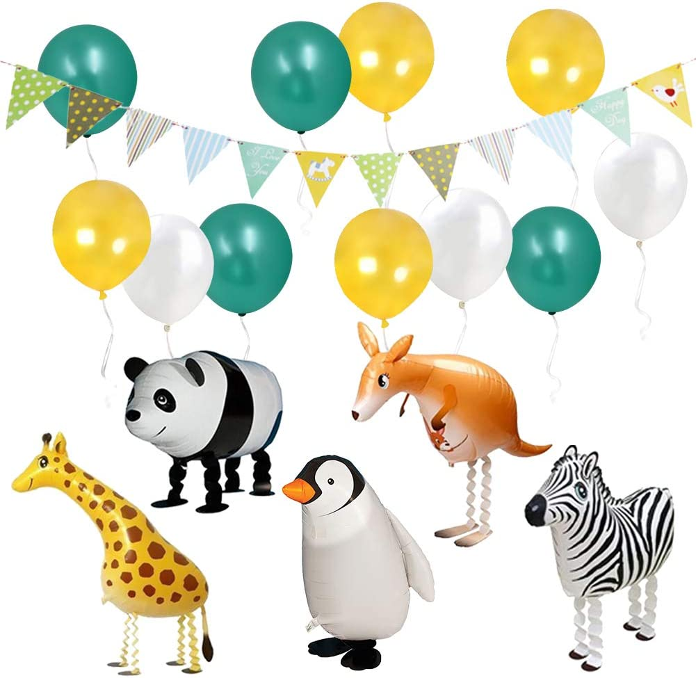 ETLEE Jungle Safari Party Supplies - Walking Animal Balloons & Multicolor Triangle Flag Banner & Latex Balloons for Zoo Theme BBQ Birthday Party Decorations