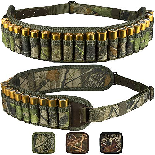 Bronzedog Waterproof Shell Holder Nylon Shotgun Bandolier 12 16 Gauge Durable Camo Belt Case Rifle Ammo Pouch Hunting Accessories (Green Oak Camo)