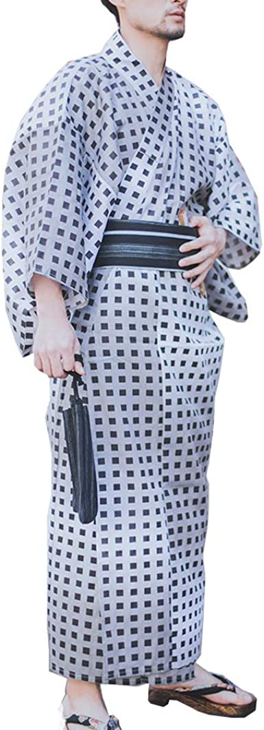Kimono japonés Yukata japonés para Hombre Pijama de túnica para el hogar Bata Talla L-F9