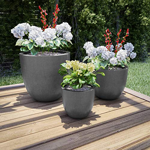 Pure Garden 50-LG1188 Fiber Clay Planters – Modern Tapered Gray Replanting Pots with Drainage Holes for Backyard, Deck or Patio (Set of 3)