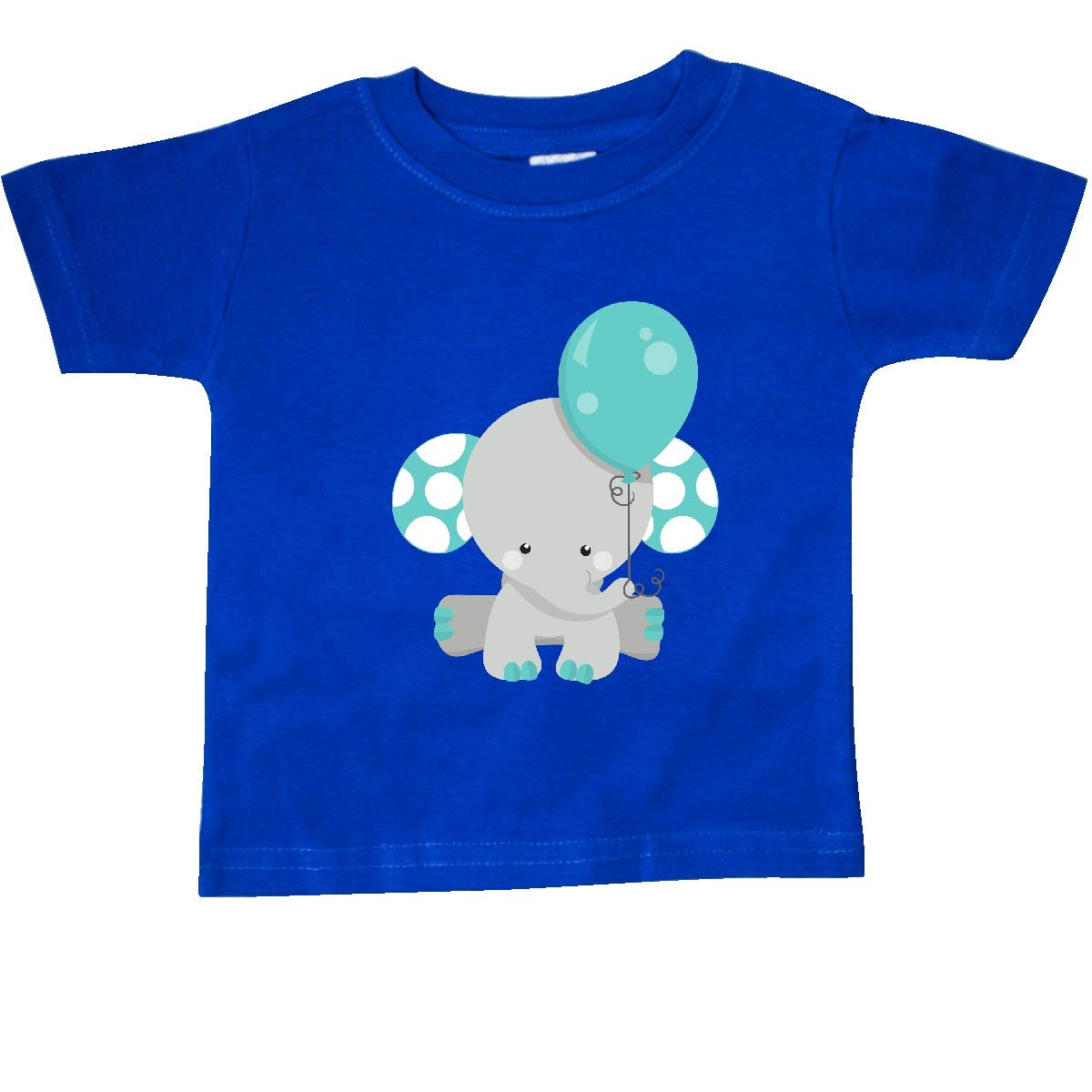 inktastic Little Gray Elephant Holding a Blue Balloon Baby T-Shirt