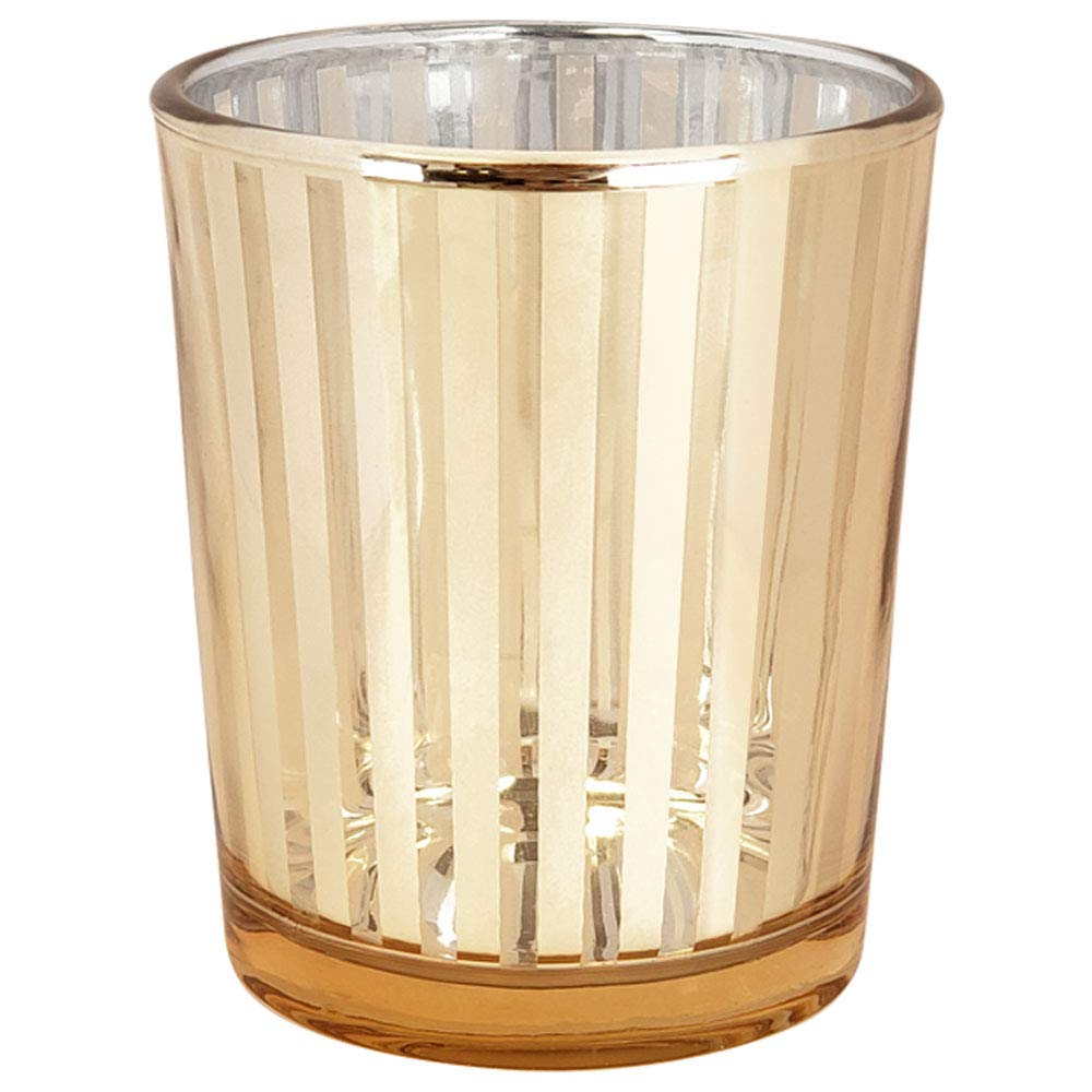 Just Artifacts Glass Votive Candle Holders 2.75'' H Striped Gold (Set of 12) - Glass Votive Candle Holders for Weddings and Home Décor