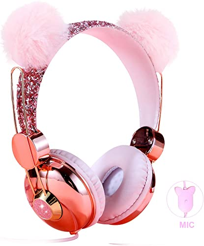 Kids Headphones for Girls, Cute Bear Ear Wired Girls Headphones for School Travel Christmas Birthday Gifts Pink