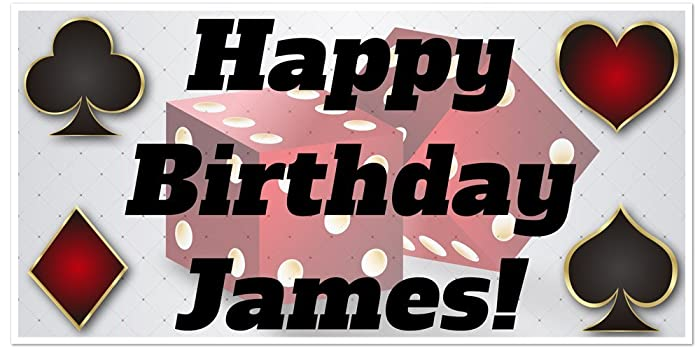 Playing Card Suits With Dice Birthday Banner Personalized Party Backdrop