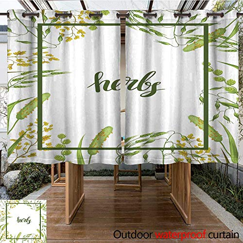 atio Outdoor Curtain Frame with Herbs and Cereal Grass Floral Design of Meadow Plants W55 x L72 ()