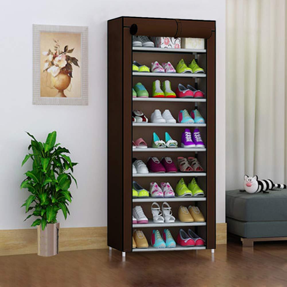 TUKAILAI marr/ón Zapatero de 10 Niveles con Cubierta para hasta 30 Pares de Zapatos 60 x 30 x 160 cm Zapatero Organizador de Almacenamiento 60x30x160CM