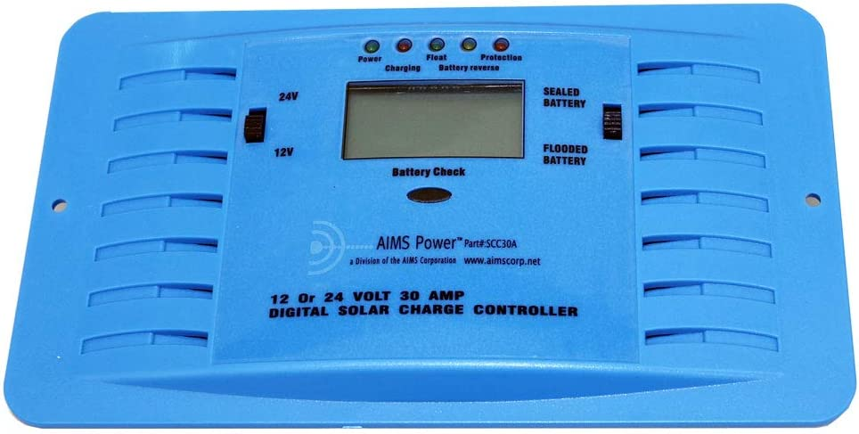AIMS Power SCC30A 30 Amp PWM Solar Charge Controller 12 or 24 VDC