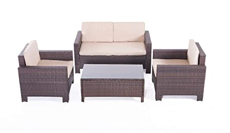 UFI 4pcs Patio Furniture Sets All Weather Indoor Outdoor Conversation Set Rattan Wicker Sofa with Cushion and Cofe Table Garden Yard Poolside Balcony RTA Furniture Brown