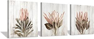 """Floral Canvas Wall Art Print: Flower Bloom Picture Graphic Artwork Painting for Home Office (16""""x16""""x3pcs)"""