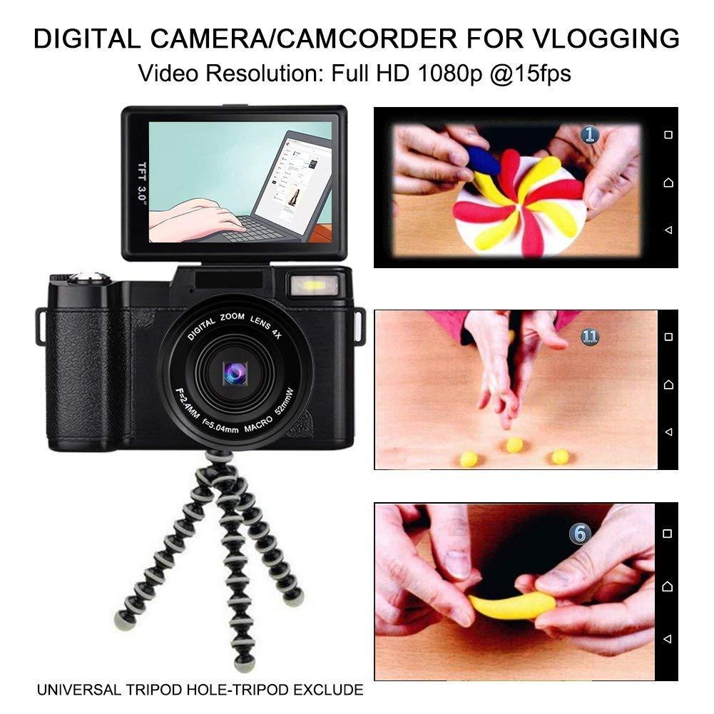 Digitalkamera Full HD Videokamera 1080P 24.0MP Vlogging: Amazon.de ...