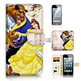 ( For iPhone 8 / iphone 7 ) Flip Wallet Case Cover & Screen Protector Bundle - A21020 Beauty and Beast