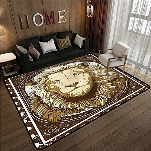 Large Area Rug Lion Vintage Head of Jungle Animal Anti-Slip Doormat Footpad Machine Washable 6'6