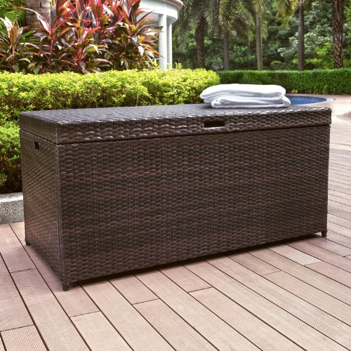 - Crosley Furniture Palm Harbor Outdoor Wicker Storage Bin - Brown