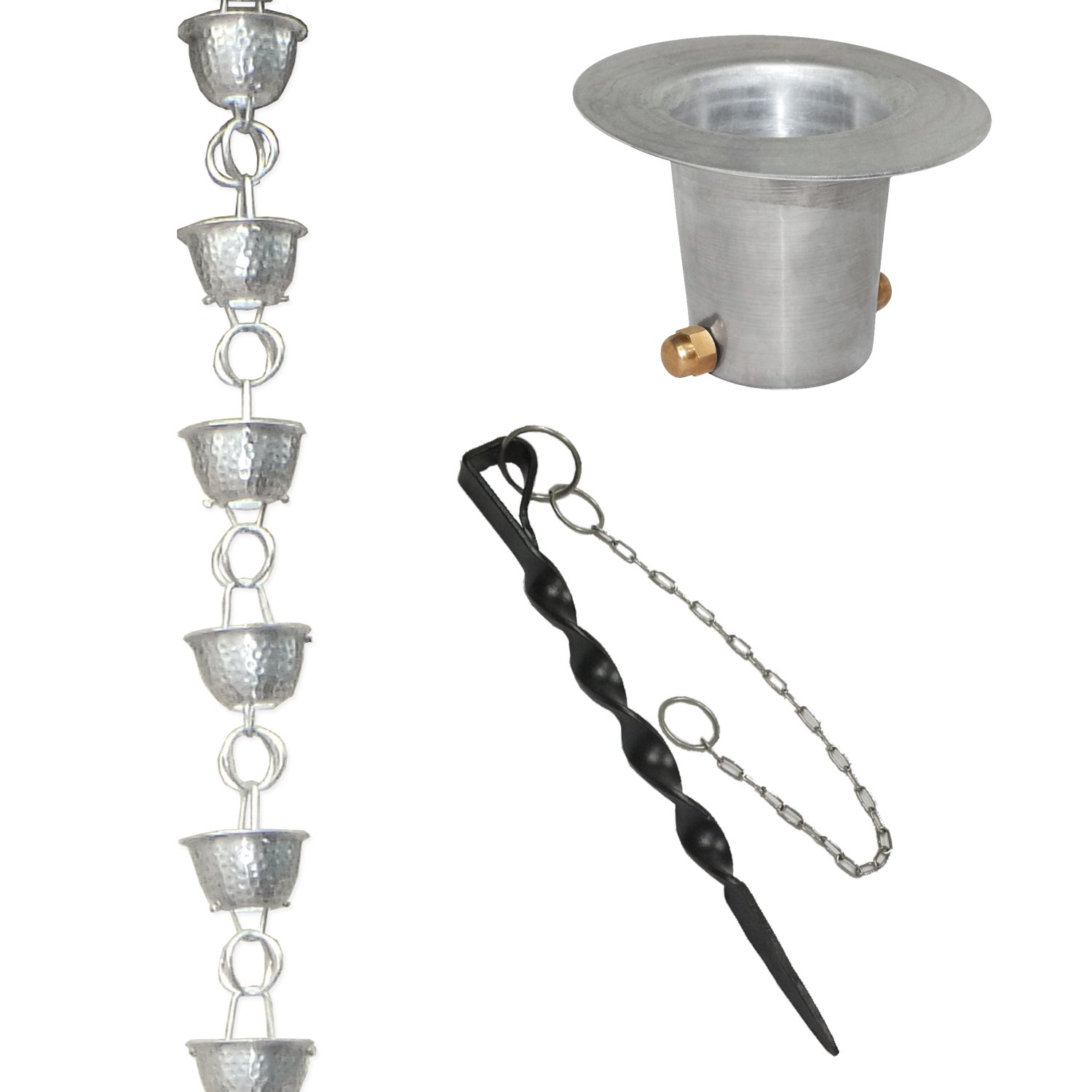 Monarch Aluminum Hammered Cup Rain Chain (Mill Finish) with Anchoring Stake and Gutter Reducer for Installation