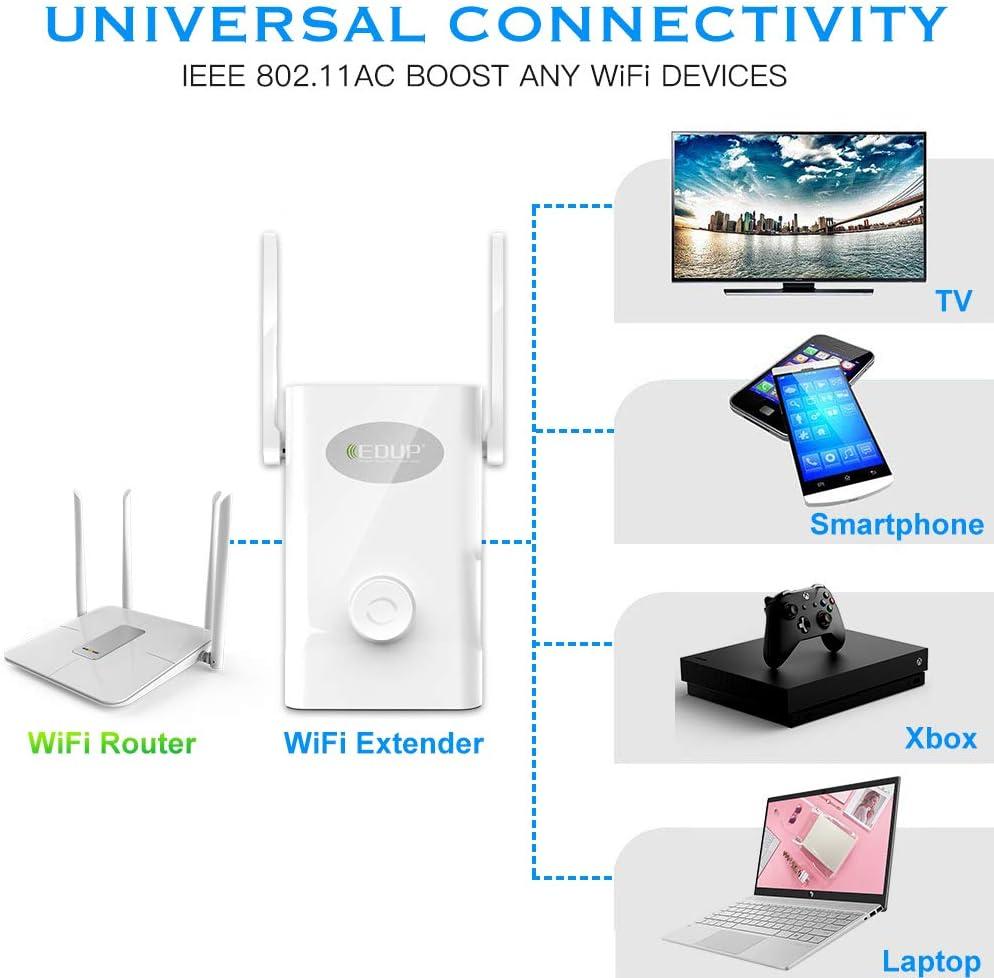 WiFi Extender AC1200Mbps EDUP Wireless Range Repeater 2.4Ghz 5GHz ...