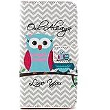 DETUOSI Galaxy S5 Cover,PU Leder Brieftasche Flip Cover Case Schutzhülle für Samsung Galaxy S5 und S5 NEO (G900/G903F) Hülle Handy Tasche Etui Schale,Blaue Eule