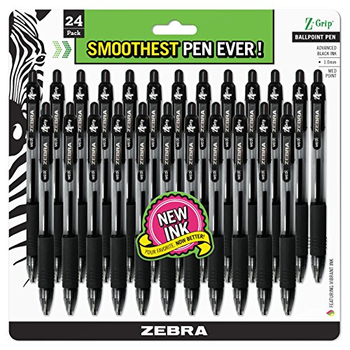 Zebra Pen Z-Grip Retractable Ballpoint Pen, Medium Point, 1.0mm, Black Ink, 24-Count (12221)