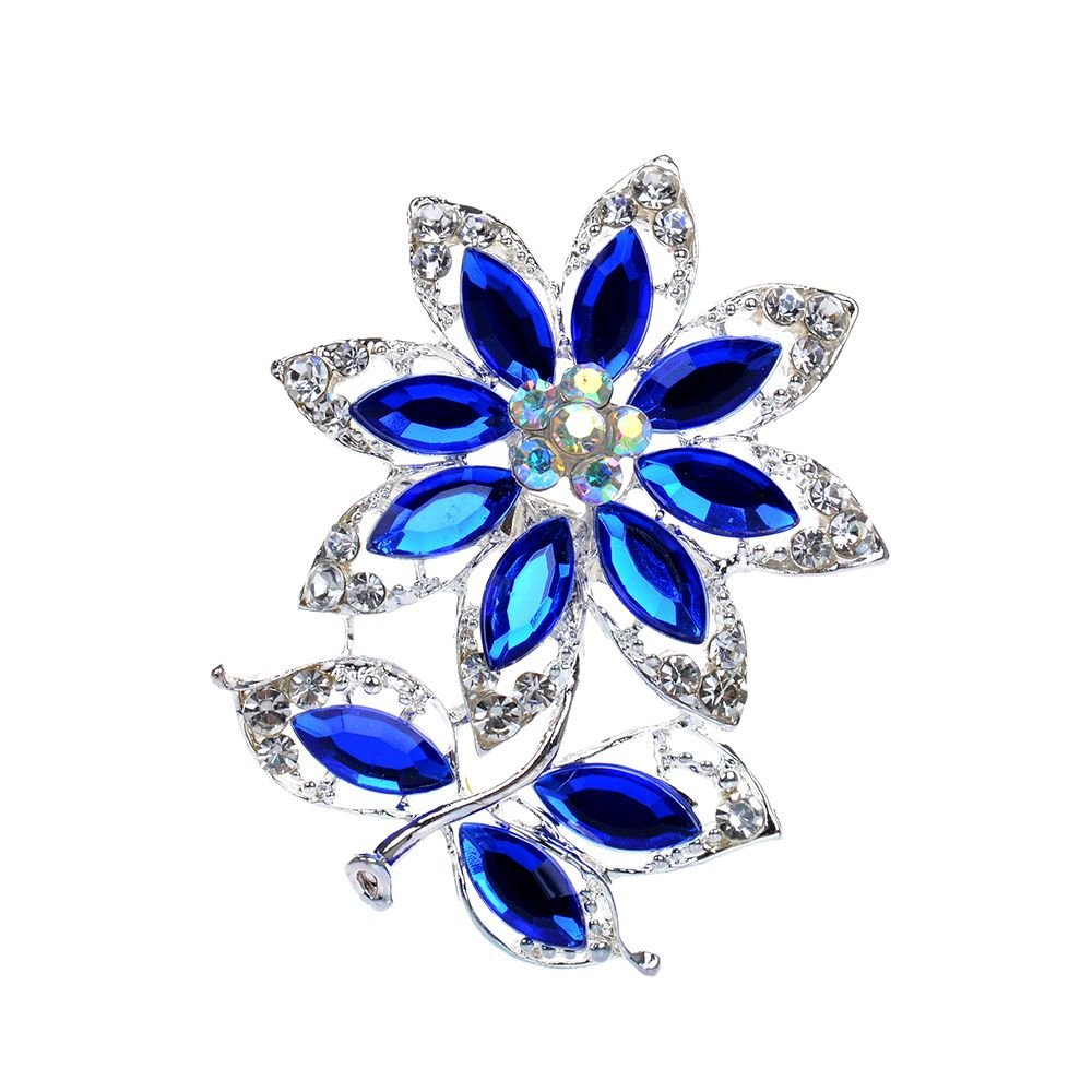 TXIN Elegant Blue Flower Jewelry Crystal Rhinestone Brooch Pin, Brooch Breastpin for Women Wedding, Dailywear, Banquet Party Jewelry
