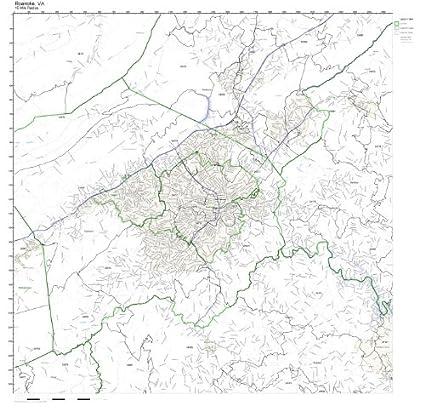 Roanoke Zip Code Map.Amazon Com Roanoke Va Zip Code Map Laminated Home Kitchen