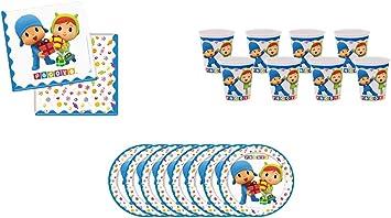 ALMACENESADAN 0492, Pack Desechables Pocoyo y Nina para Fiestas y cumpleaños; 8 Platos 23 cm, 8 Vasos, 20 servilletas: Amazon.es: Juguetes y juegos