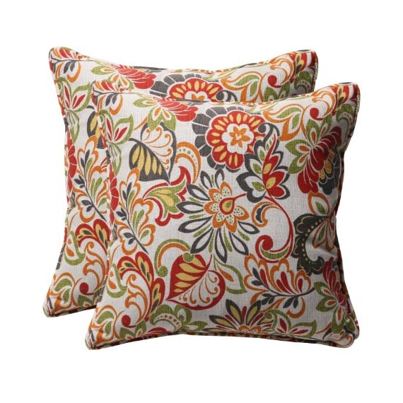 """Pillow Perfect Outdoor/Indoor Zoe Citrus Throw Pillows, 18.5"""" x 18.5"""", Green, 2 Pack - Add a pop of color or complementary accent to your patio set or living room decor with this set of two (2) outdoor/indoor square throw pillows (18.5"""" x 18.5"""") with coordinating welt cord Ultra-durable water- & fade-resistant outdoor polyester fabric protects fill material and is ideal for use on the patio or poolside; also suitable for indoor use 100% recycled polyester fiber fill maintains pillow shape and offers extra cushion - patio, outdoor-throw-pillows, outdoor-decor - 619%2Bf3x7gBL. SS570  -"""