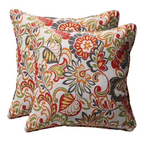 Pillow Perfect Decorative Multicolored Modern Floral Square Toss Pillows, 2-Pack - Beige Floral Pillow