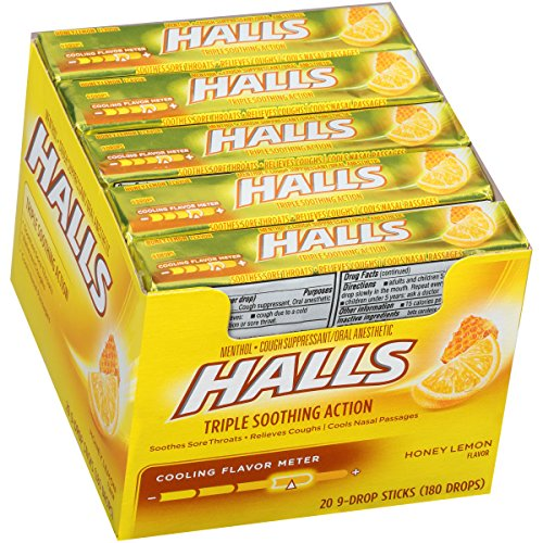 HALLS Cough Drops (Honey Lemon, 9 Drops, 20 (Drops Sugar Free Honey)