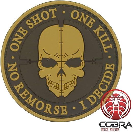 Cobra Tactical Solutions One Shot One Kill No Remorse I Decide Sniper Parche PVC Táctico Moral Militar Cinta adherente de Airsoft Cosplay para Ropa de Mochila Táctica: Amazon.es: Hogar