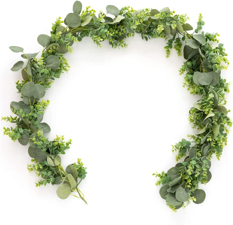6.5Ft Artificial Eucalyptus Garland ,Faux Silk Silver Dollar Eucalyptus Leaves Vines Garland Greenery Wedding Backdrop Arch Table Runner Centerpieces Wall Decor 2 in 1