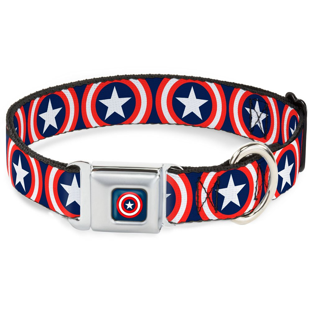 Buckle-Down Seatbelt Buckle Dog Collar - Captain America Shield Repeat Navy - 1'' Wide - Fits 15-26'' Neck - Large