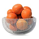 """The Iconic Modern Wire Mesh Fruit Bowl, Art Museum Style, Powder Coated Iron, Large, 11"""", By Whole House Worlds"""