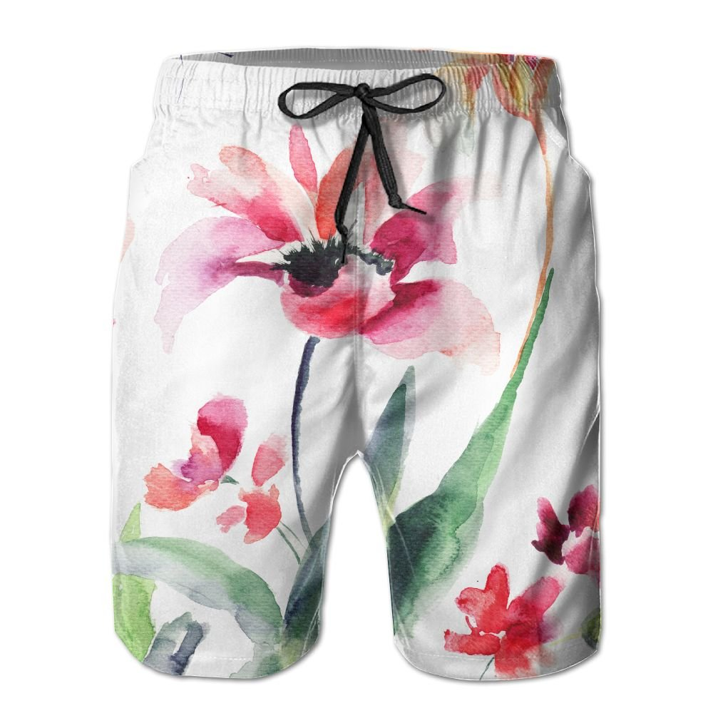 SmallHan Mens Stylized Flowers Watercolor Illustration White Running Board Short Adjustable Beach Shorts With Pockets