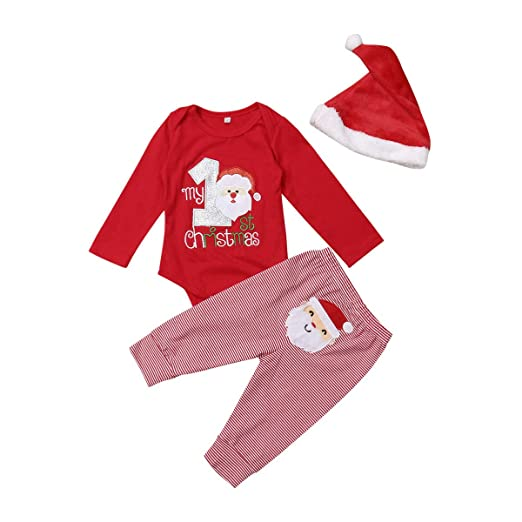 My First Christmas Baby Girls Boys Christmas Santa Romper Bodysuits Pant Hat  3Pcs Sets (0 fdfa12b26fb4