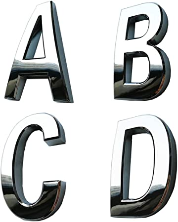 For Home /& Auto Chrome 3D Self-adhesive Letter number Car badge door sticker