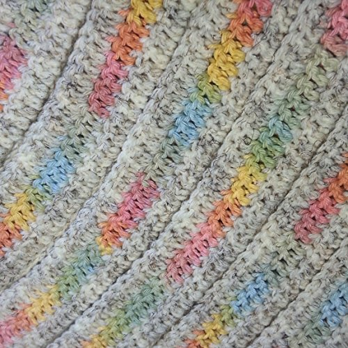 Crocheted Off-white with Pastel Variegated Stripe Coat Hanger Cover Set ()