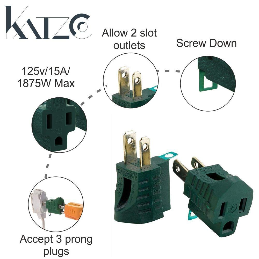 Katzco 3 Prong To 2 Grounding Adapter Piece For Wall Wiring Two Outlets Outlet Plugs Converters Electrical Household Workshops Industrial