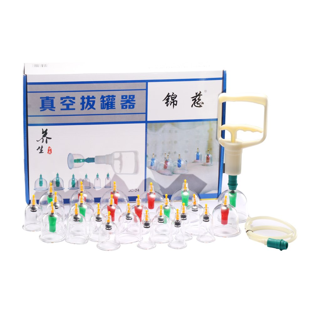 Chinese Cupping Set, DDSKY 24pcs Professional Cupping Therapy Kit with Vacuum Pumb Pumping Handle, English Manual Included