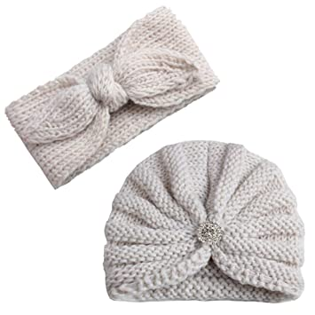 63b560eb4c7 Amazon.com  2Pcs Baby Boy Girl Beanie Cap Bowknot Headband