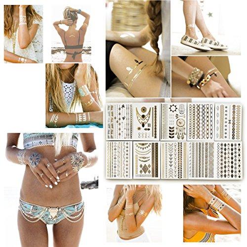 BeneU Metallic Temporary Tattoos, 10 Sheets Flash Jewelry Tattoos Glitter Shimmer Designs for Women Teens Girls - Gold, Silver, Black