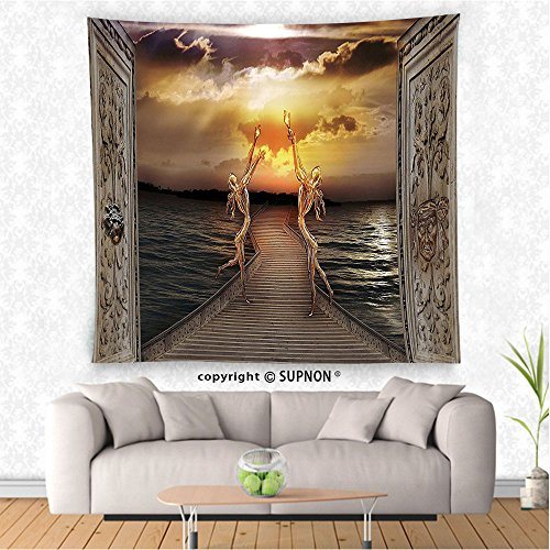 VROSELV custom tapestry Fantasy Decor Tapestry Gaze toward Heavens with Two Angels Dancing Dream Mystic Lands Fairy Image Wall Hanging for Bedroom Living Room DormTaupe Golden (Tapestry Angels Two)