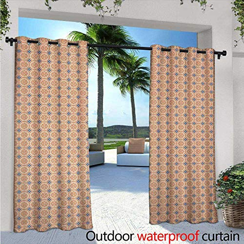 Traditional Indoor/Outdoor Single Panel Print Window Curtain Pattern with Abstract Design Elements Floral Motif and Stars Mosaic Tile Silver Grommet Top Drape W108 x L96 Orange Blue Cream