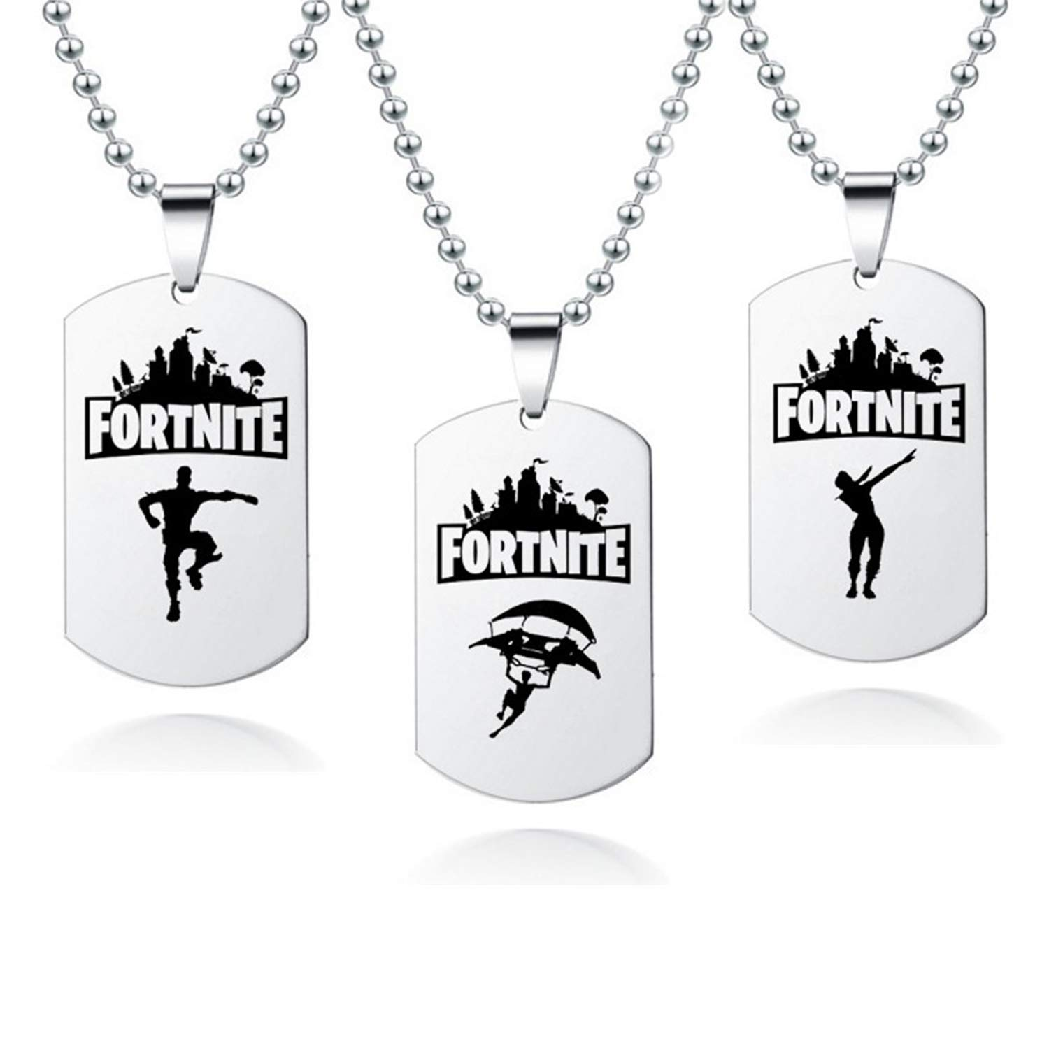 Dolovely Battle Royale Game Necklace Stainless Steel Dog Tag Pendant Necklace (3 PCS(Style 3))