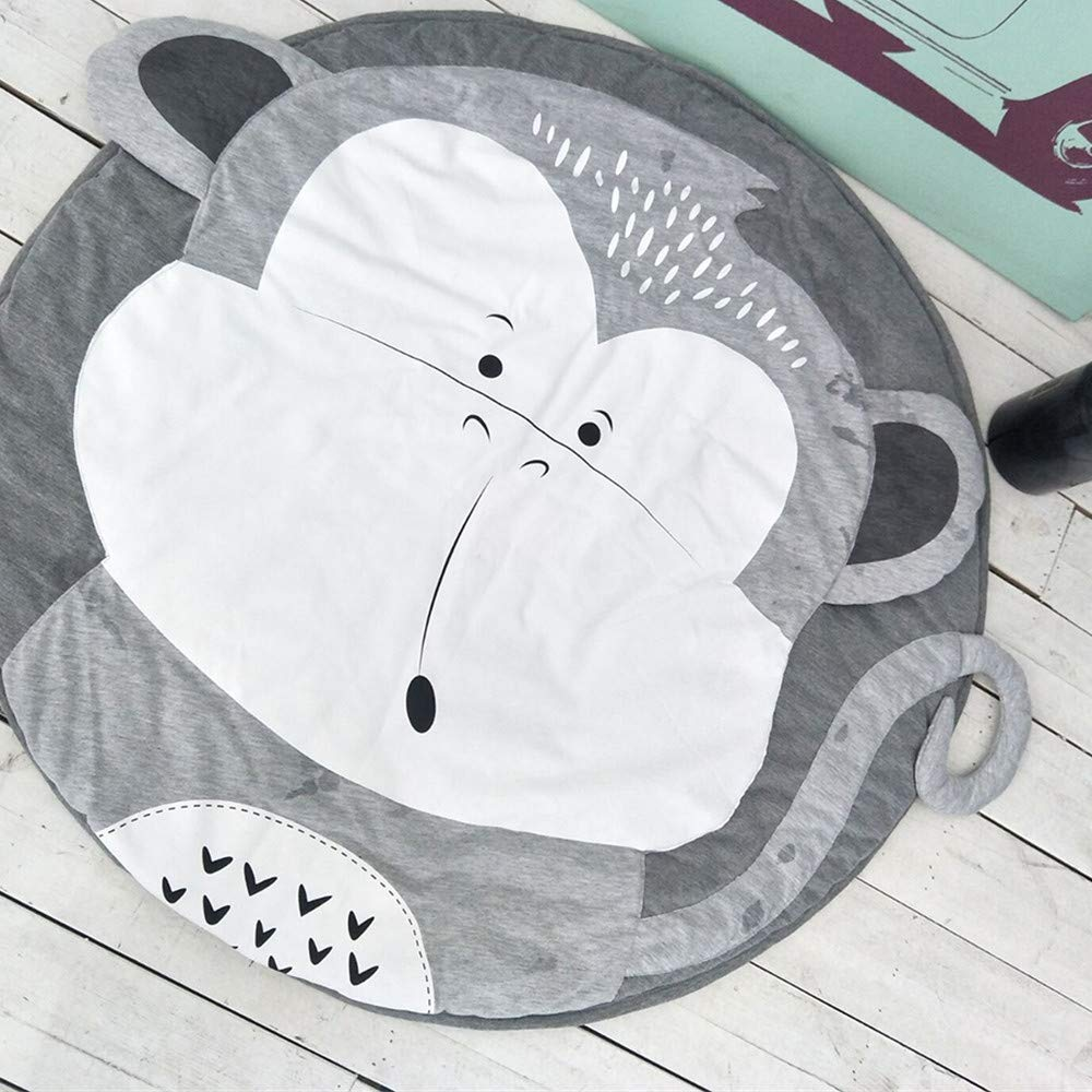 GABWE Kids Round Rug Cotton for Baby Floor Play mats Nursery Kids Room Decoration 35.4 inches
