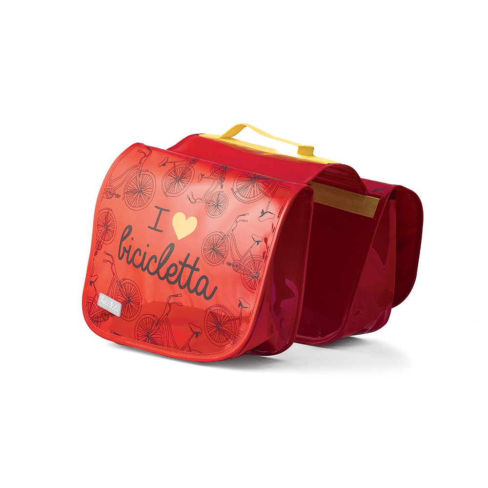 Sac (double) porte-bagages de velo en rouge - That's Italia collection ''I love bicicletta''