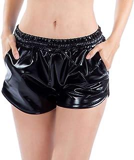 Hibote Pantaloncini Boxer Stile Allentato da Donna in Pelle Lucida Pantaloncini Metallizzati Lucido da Allenamento Wetlook Clubwear Corto B181021WP3-X