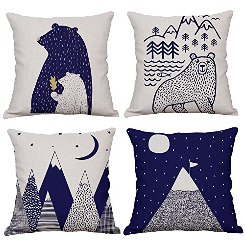 le Cute Cartoon Bear & Mountain Throw Pillow Cover Cotton Linen Rustic Nursery Home Decor Pillow Case Cushion Cover for Kids Room 18 x 18 Inches (Mountain & Bear) ()