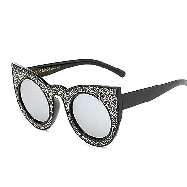 Bmeigo Gafas de sol Ojos de gato Sparkling Frame Redondo ...